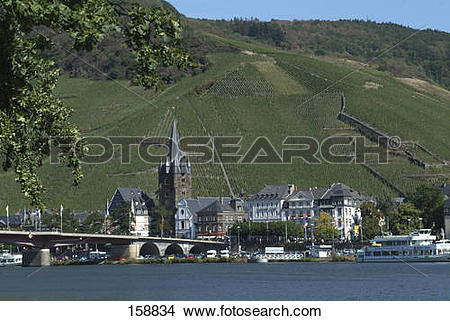 Stock Photo of Buildings on waterfront, Mosel River, Bernkastel.