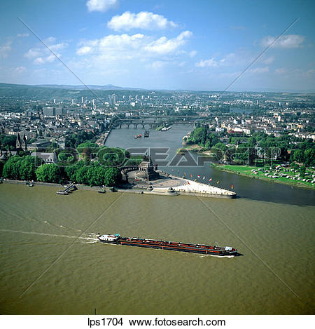Stock Photo of 09 Barge Passing The Deutsches Eck Confluence Of.