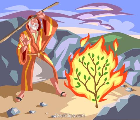 Moses and the Burning Bush Royalty Free Vector Clip Art.