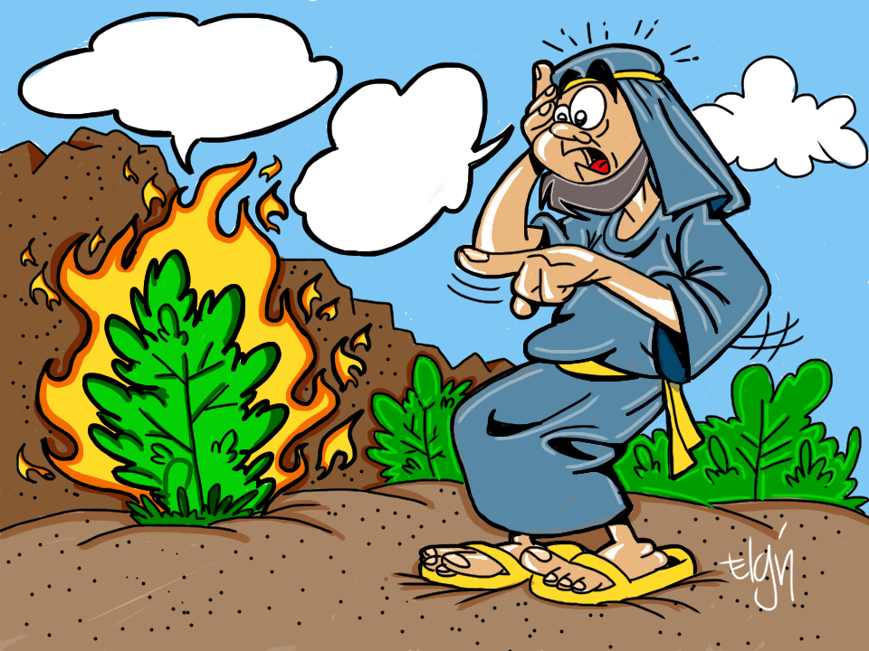Moses and the Burning Bush Cartoon & Coloring Page (Ministry.