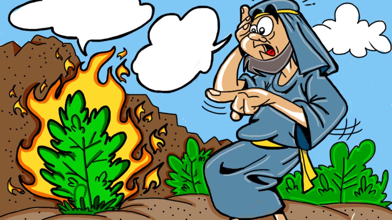 Moses and the Burning Bush Cartoon & Coloring Page.