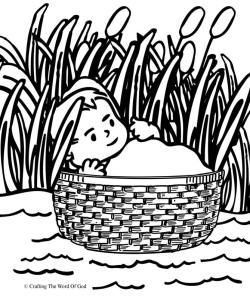 Moses In The Basket Coloring Page.