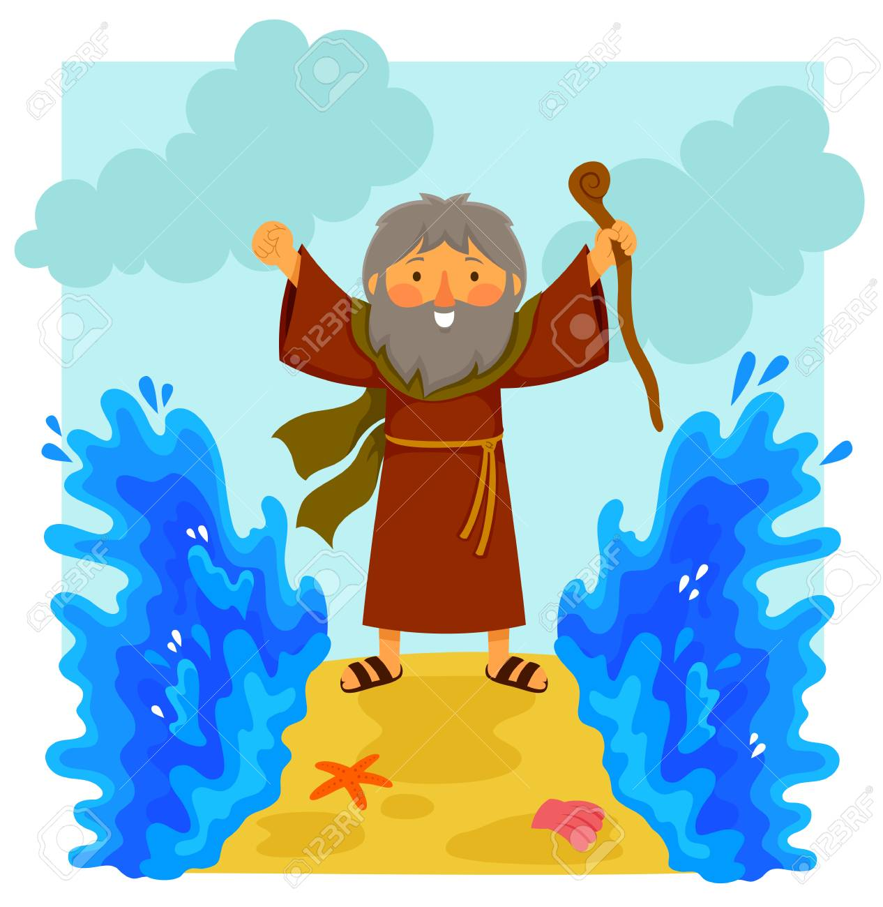 Cartoon illustration of happy Moses parting the red sea in the...