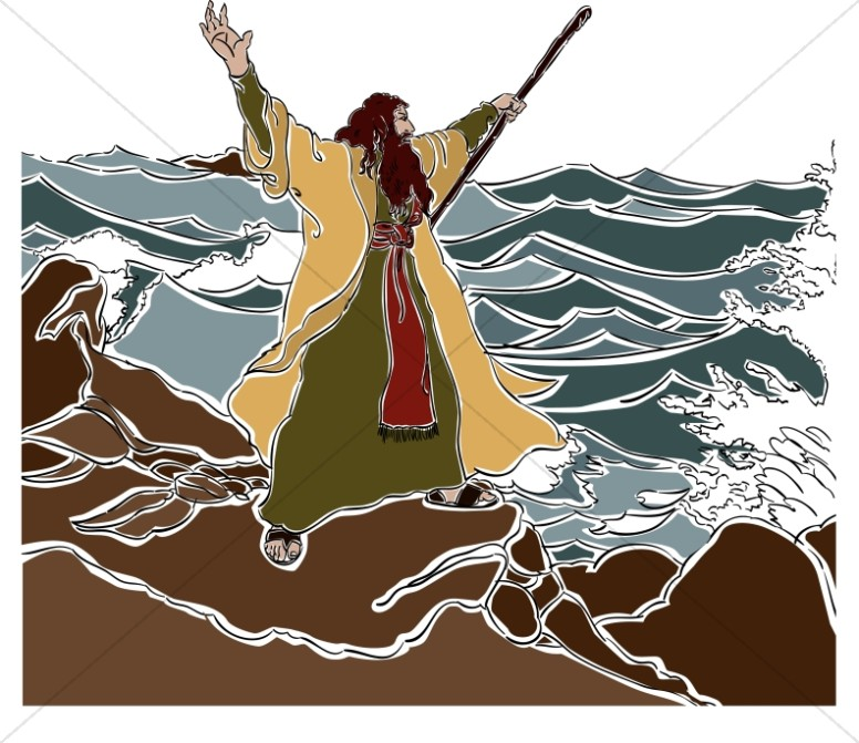 Moses Stands on the Red Sea Shore.