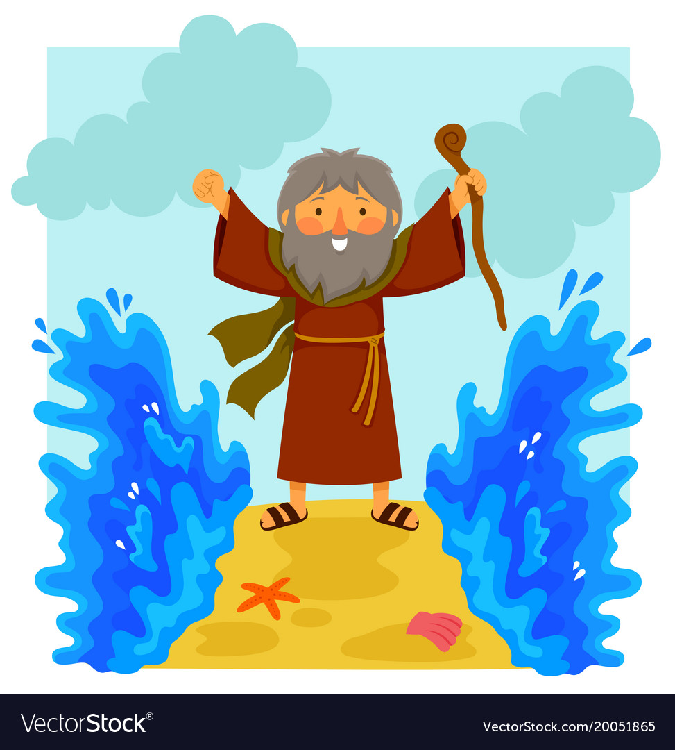 Cartoon moses parting the red sea.