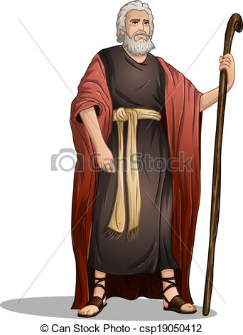 Vector Clip Art of Moses From Bible For Passover.
