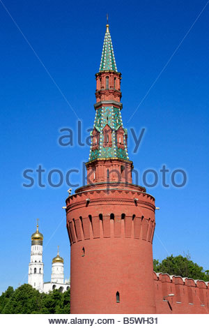 Moscow Russia The Kremlin Wall Beklemishevskaya Tower & River.