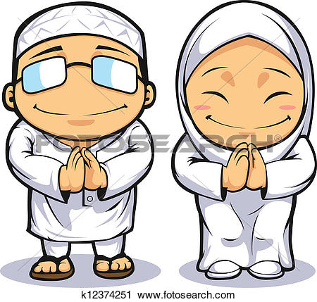 Clipart of happy muslim couple k10258005.