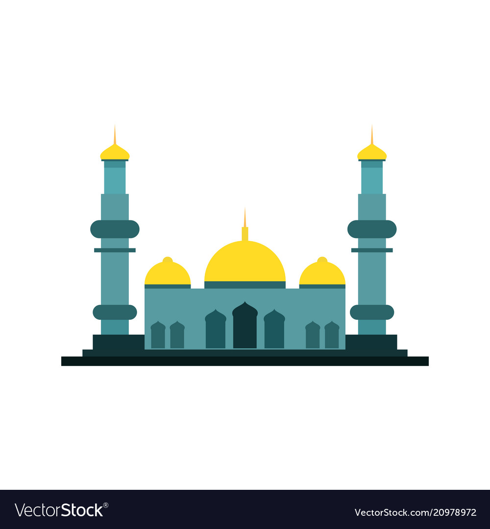 Wide green islamic mosque building design.