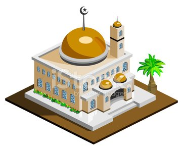 Mosque Icon Isometric Clipart Image.