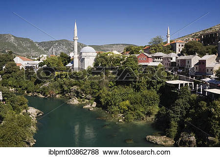 "Pictures of ""Historic centre with mosque and Neretva River, Mostar."