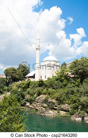 Stock Image of Koski Mehmed Pasha Mosque in Mostar, Bosnia and.