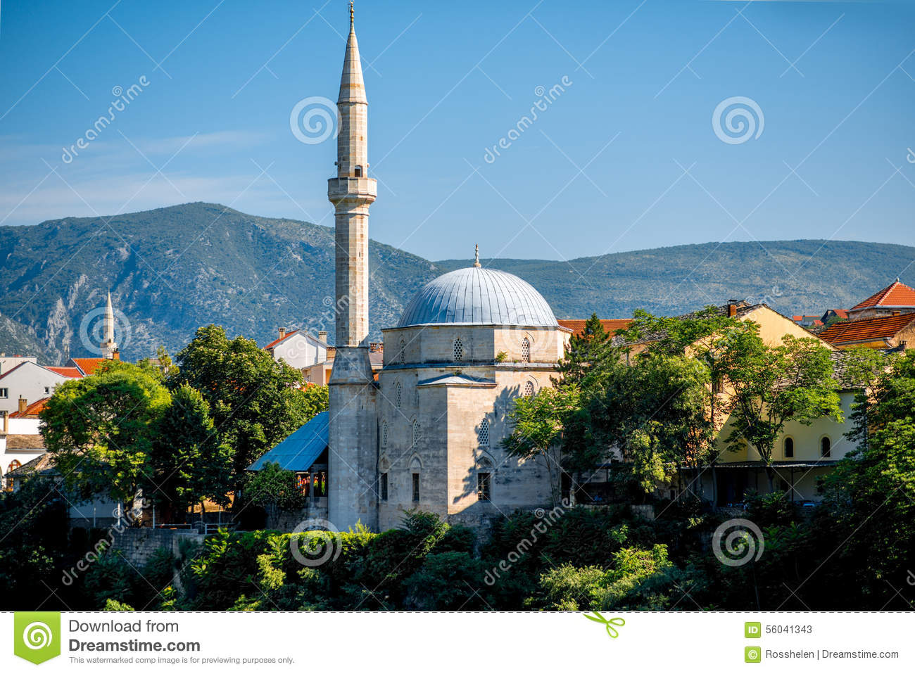 Mosque In Mostar City Stock Photo.