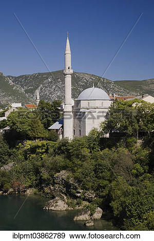 "Stock Photograph of ""Mosque and Neretva River, historic centre."