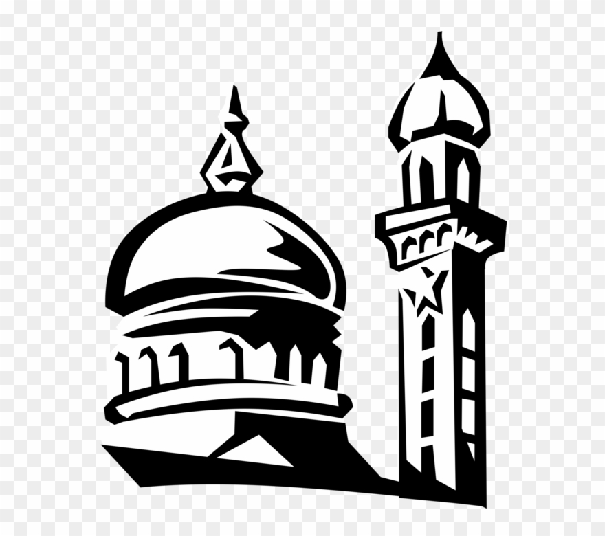 Vector Black And White Stock Islamic Mosque Dome And.