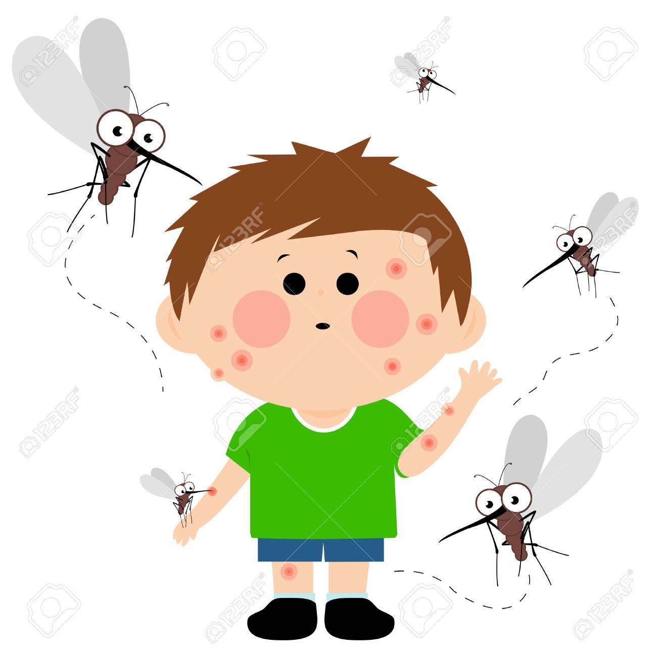Boy bitten by mosquitoes.