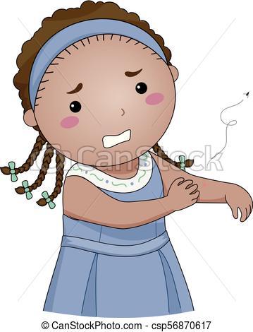 Kid Girl Mosquito Bite Illustration.