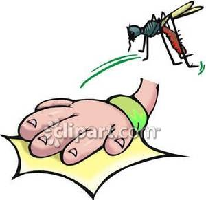 Hand Swatting At a Mosquito Royalty Free Clipart Picture.