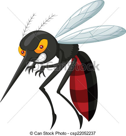 Angry mosquito cartoon.