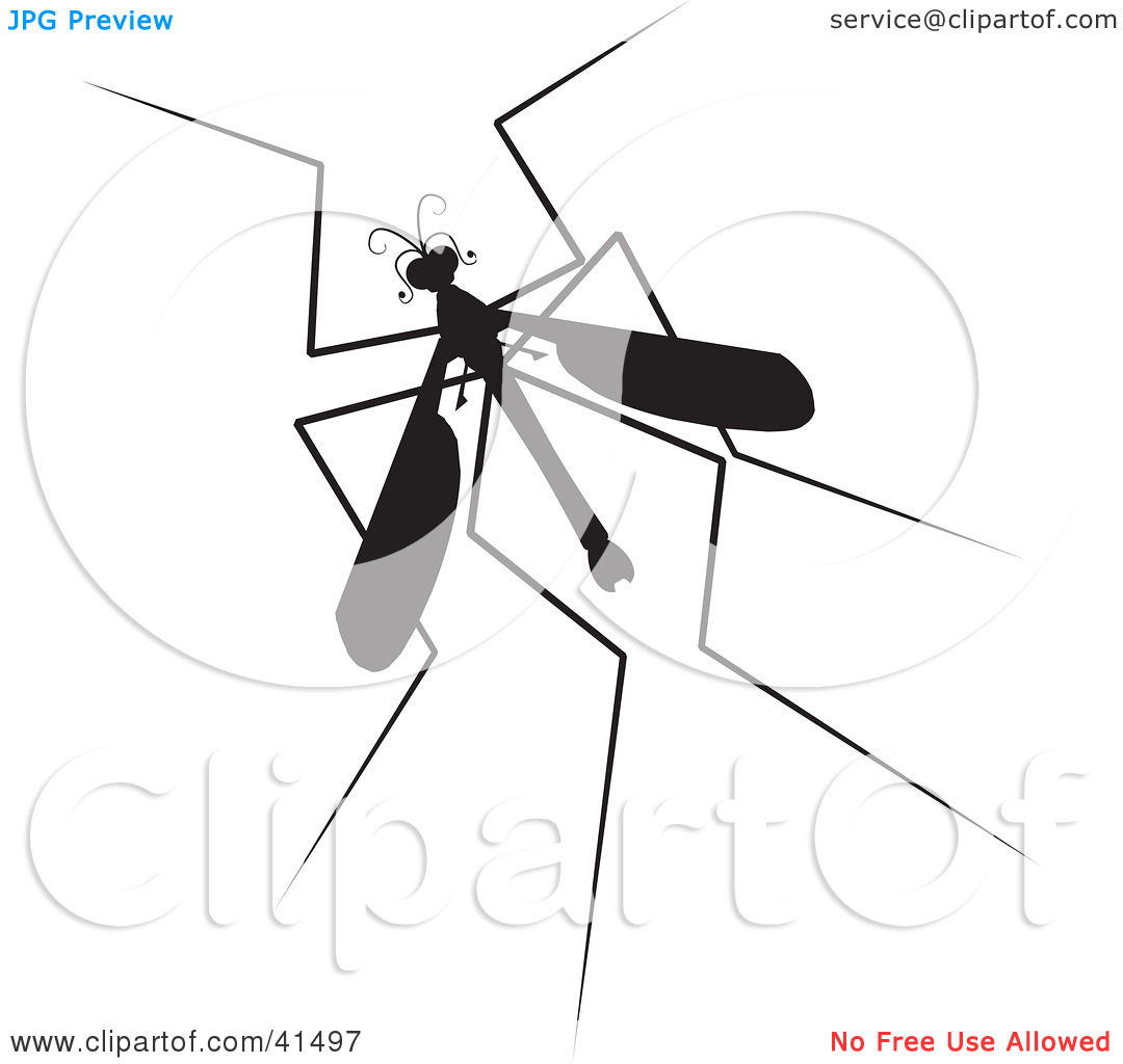 Clipart Illustration of a Black Silhouetted Mosquito Hawk by.