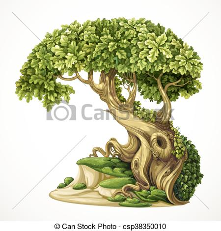 Oak tree with moss clipart.
