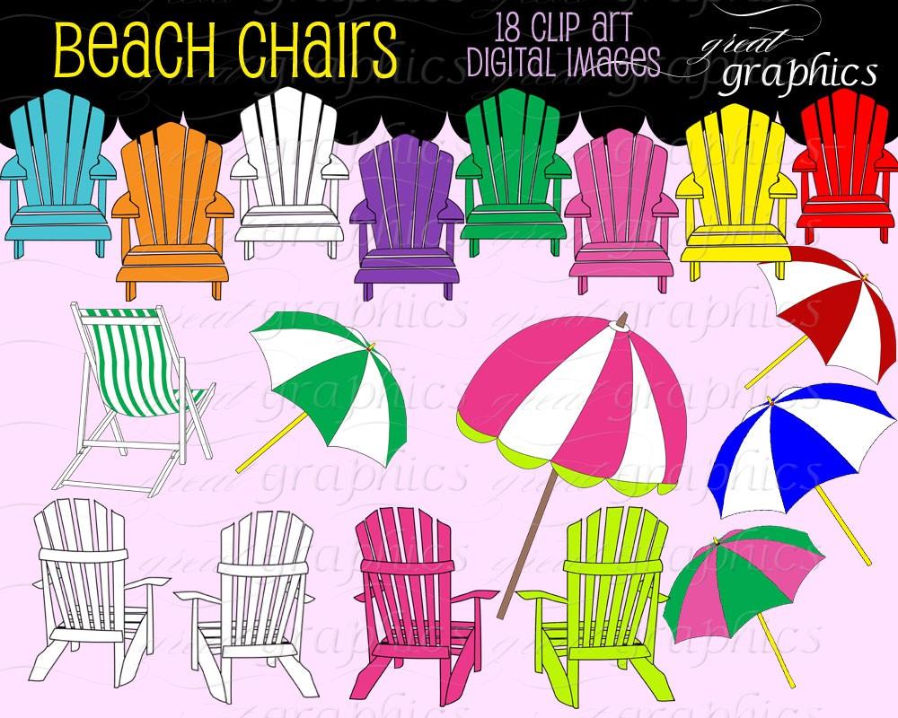 Beach Clip Art Digital Clipart Beach Chair Beach by GreatGraphics.