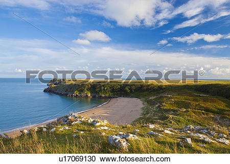 Stock Photography of Wales, Pembrokeshire, Barafundle Bay.