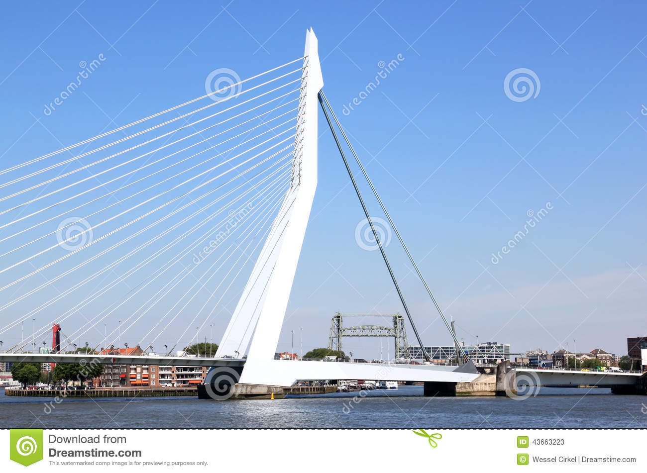 Old And Modern Bridge In Dutch City Of Rotterdam Editorial Stock.