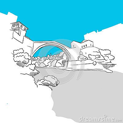 Old Mostar Bridge Stock Illustrations.