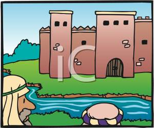 Image: Peasant Men Looking At a Castle From Across a Moat.