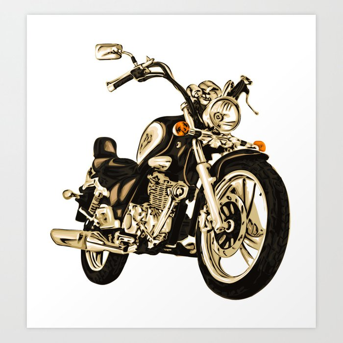 Stylized motorcycle clipart.