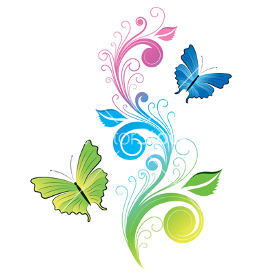 Floral butterfly vector by.