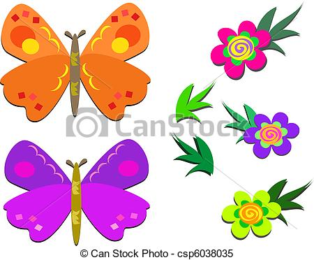 Clipart Vector of Two Cute Butterflies and Flowers.