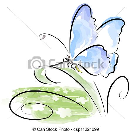 EPS Vectors of Butterfly sitting on grass over flower field.