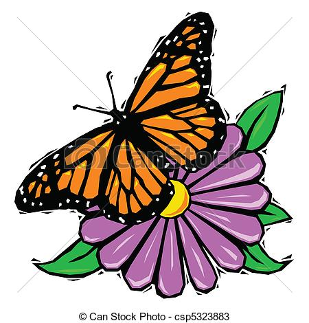 Vectors of Woodcut butterfly on flower.