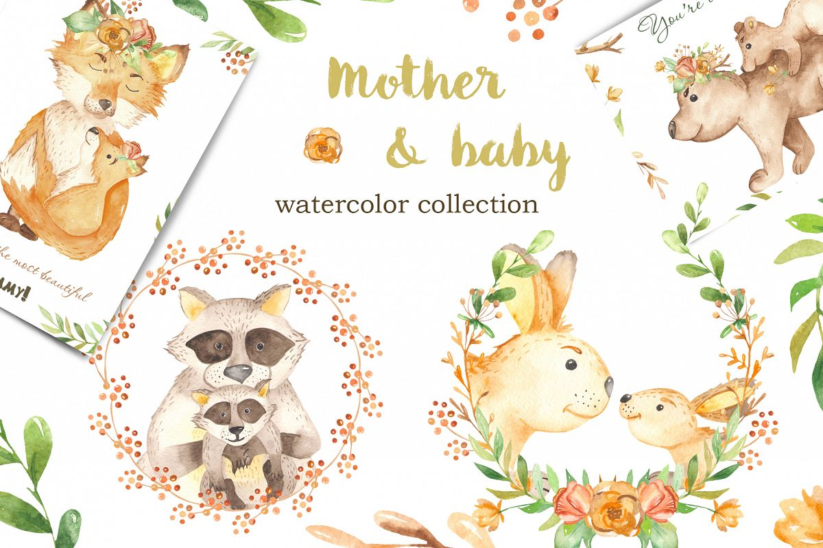 Mother and baby animal. Watercolor clipart for Mothers Day.