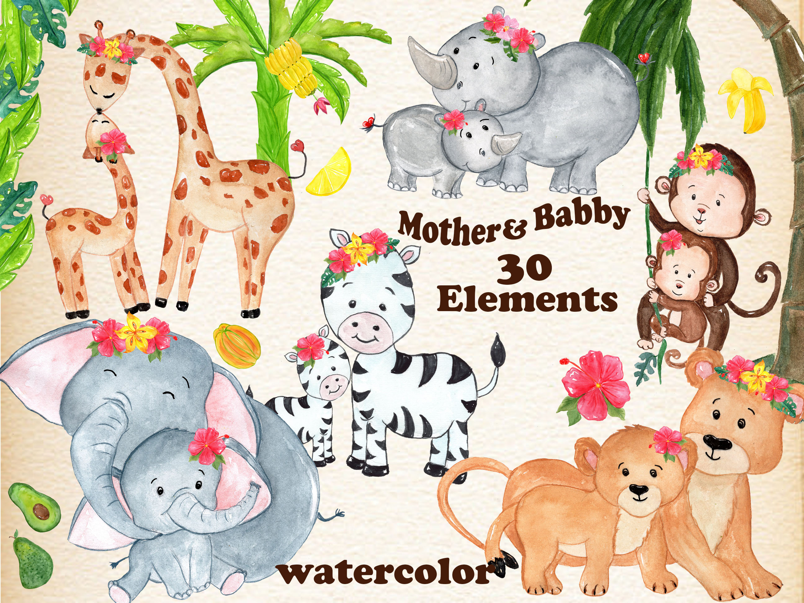 Mother and baby animals clipart.
