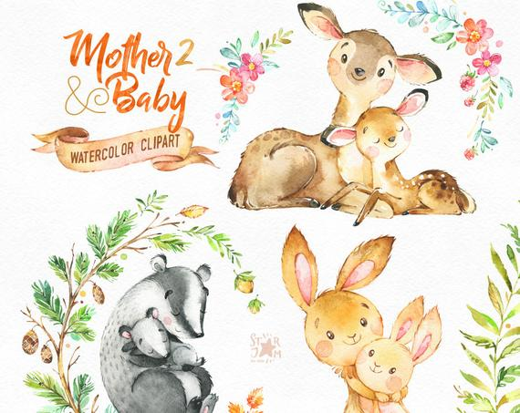 Mother & Baby 2. Watercolor animals clipart, deer, rabbit, brock, greeting,  mothers day, invite, floral, wreath, card, raspberry, babyshower.