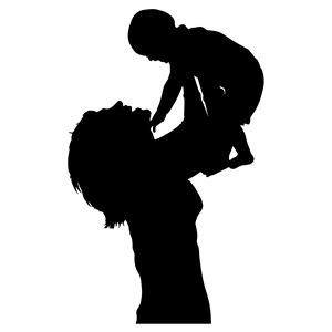 Mother And Baby Silhouette clipart, cliparts of Mother And.