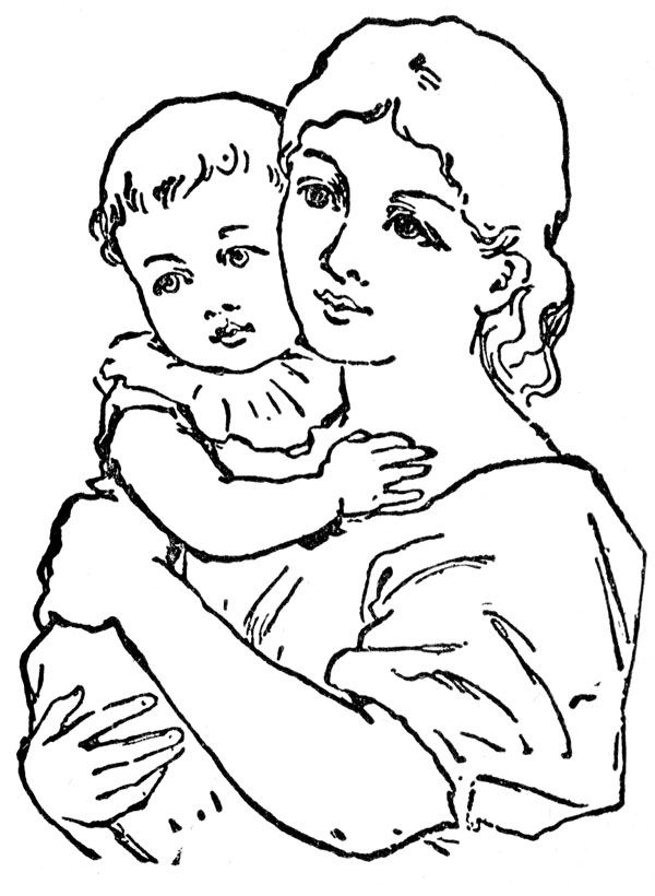 Mother and child clipart #14