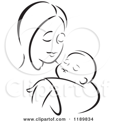 Mother and child clipart #16