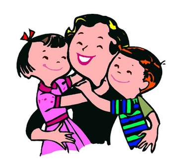 Mother and child hugging clipart.