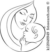 Mother and child clipart #18