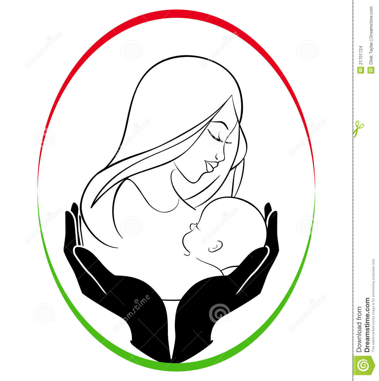 Mother and child clipart #19