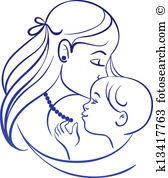 Mother and child clipart #20