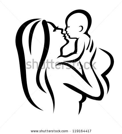 mother and baby vector silhouette, sketch in black lines by.