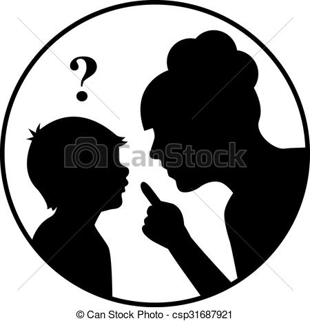 Vector Illustration of silhouette mother scolds a child and.