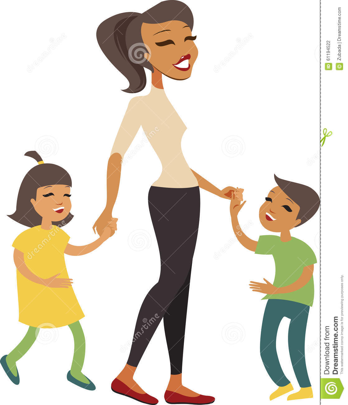 Mother with children stock vector. Illustration of mother.