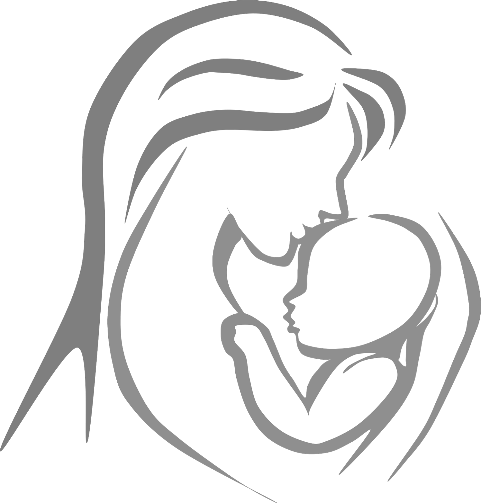 Mom Tattoo Transparent: Mother And Child Outline Clipart