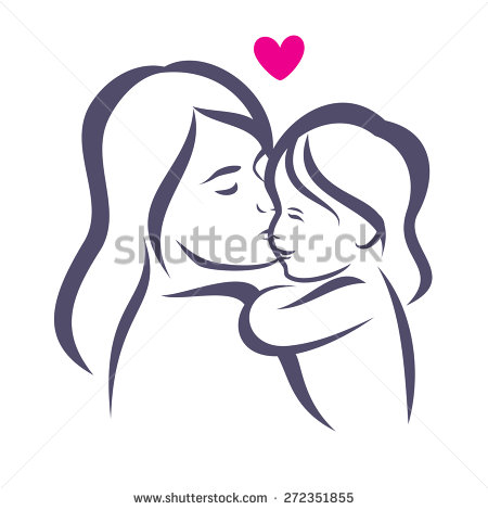 mother and daughter stylized vector silhouette, outlined sketch of.
